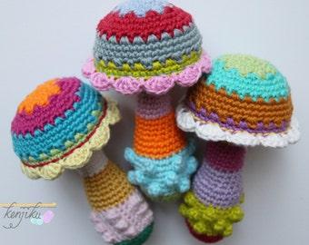 Mushroom Baby Rattle,Crochet Pattern,DIY,Baby Rattle DIY,Baby Rattle Crochet Pattern,Amigurumi Mushroom,Mushroom Amigurumi,Mushroom Pattern