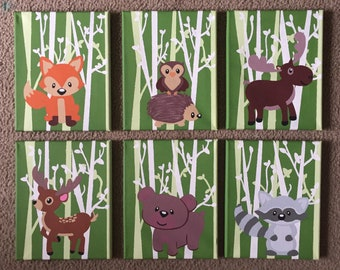 Forest Animal Canvas Set