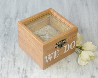 We Do Rustic Wedding Ring Box, Burlap Lace Ring Bearer Box, Ring Bearer Pillow,  Ring Bearer Pillow Alternative, Ring Holder, boho bohemian