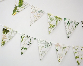 Wedding Garland,  Earth friendly, Wedding decor, Green Bunting, Natural Wedding, Garland, up-cycled paper bunting, pennants