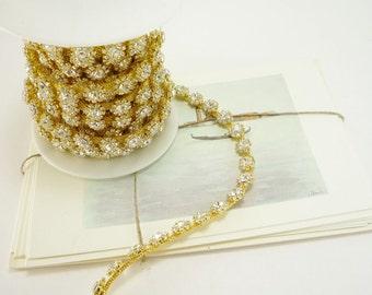 Gold Round Rhinestone Trim, Rhinestone Chain, Clear Crystal Trim, Rhinestone Applique, Wedding trim, 10mm ( 5 Yard Roll )