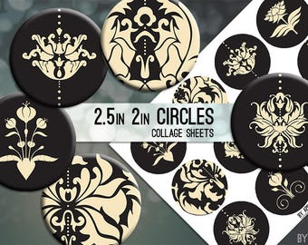 Damask Tan Grey 2.5 Inch and 2in Circle Digital Collage Sheet Download Printable Images for Gift Tags Cards Scrapbooking JPG