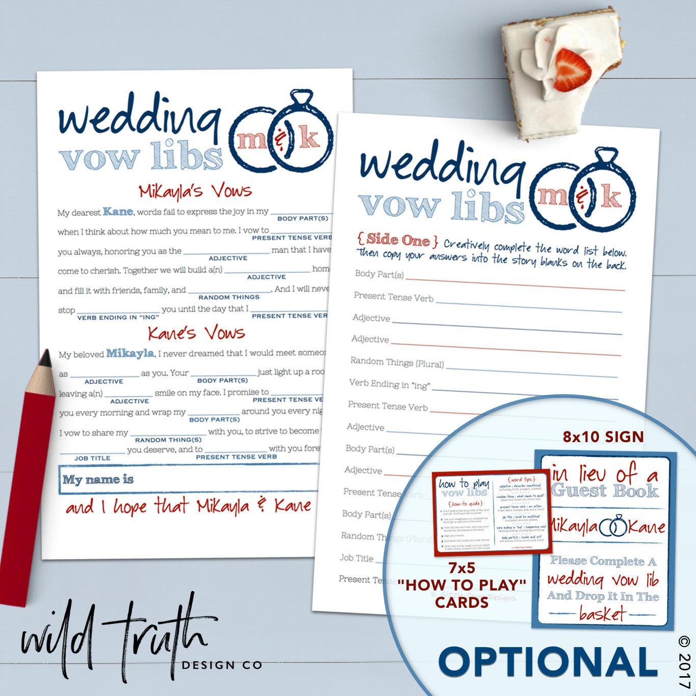 Wedding Vow Mad Libs Printable: Funny Wedding Vows Mad Lib Printable Bridal Shower Game