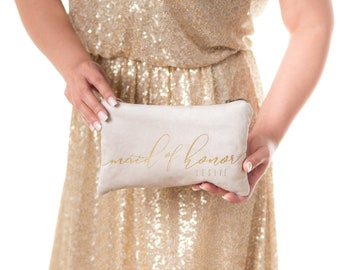 Personalized Gift. Champagne Vegan Suede Clutch Bag. Makeup Bag. Bridal Party Gifts. Custom Makeup Bags Be My Bridesmaid Wedding Party Gifts