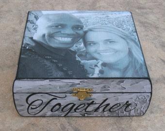 Wedding Keepsake Box, Unique Engagement Gift, Custom Wedding Gift, Personalized Anniversary Gift, Photo Memory Box, Boyfriend Gift