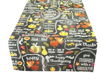 Thanksgiving Table Runner, Table Runner with Pumpkins and Turkeys, Cute Table Runner for Thanksgiving, Casual Thanksgiving Table Runner