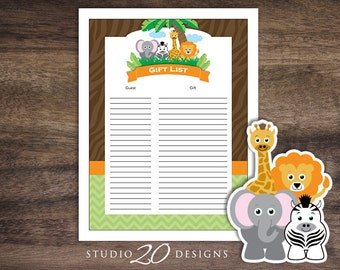 Instant Download Safari Gift List, Printable Jungle Baby Shower Gift List, Lion Elephant Zebra Giraffe Baby Shower Gift Tracking Sheet #57A