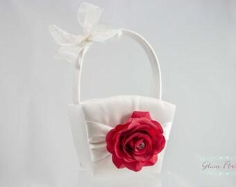 Rose Flower Girl Basket, Ring Bearer Pillow, Set, Rhinestones, ivory red cream white Real Touch flowers