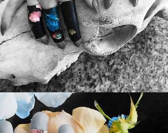 Midnight bloom print vegan leather ring long and regular length ring - size 11 - Rannka
