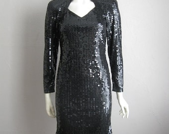 80s cut out body con BLACK SEQUIN mini dress size small medium