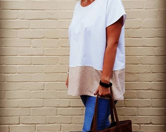 Hand Dyed White & Oatmeal Colour Block Tunic