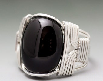 Black Onyx Gemstone Cabochon Sterling Silver Wire Wrapped Ring - Made to Order and Ships Fast!