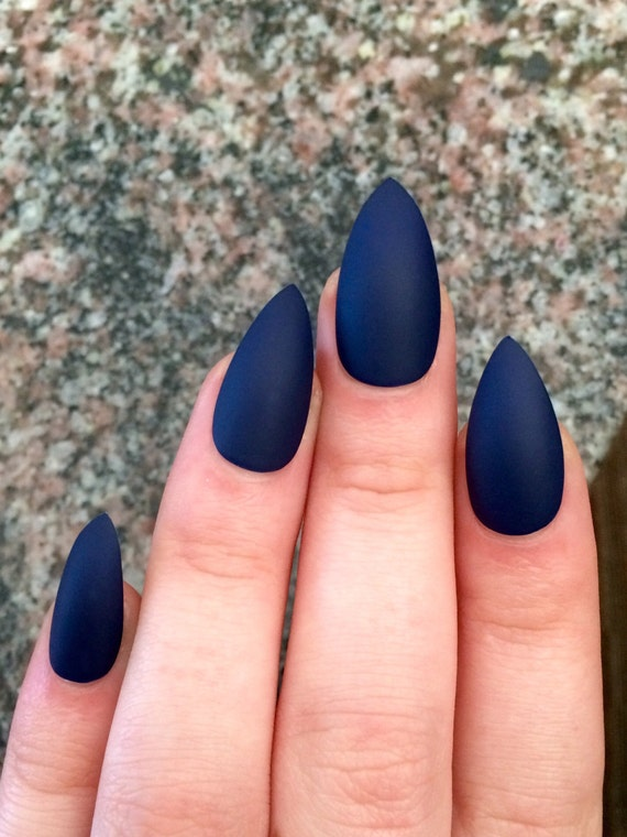 Matte nails, stiletto nails, navy blue, fake nails from nailsbykate ...