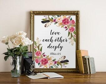 Bible Verse, Love Each Other Deeply,  1 Peter 4:8, Christian Art, Bible Verse Wall Art, Inspirational, Motivational Quote, Christian Decor