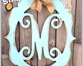 monogram door hanger, wedding monogram, letter door hanger, burlap door hanger, vintage style monogram, painted wooden monogram, distressed