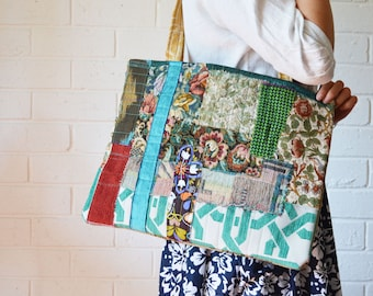 Upcycled Textile Art Large Patchwork Rainbow Bag Wabi sabi patchwork Reclaimed fabric