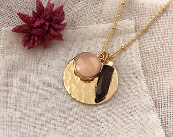 Gold Disc Necklace with Gemstones / Rose Quartz & Smoky Quartz Gorgeous Gift for Her / Dainty Gold Birthstone Jewelry