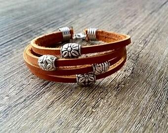 Leather multi band bracelet / tan leather bracelet / thick leather bracelet / women's leather bracelet / silver bracelet / rustic jewelry
