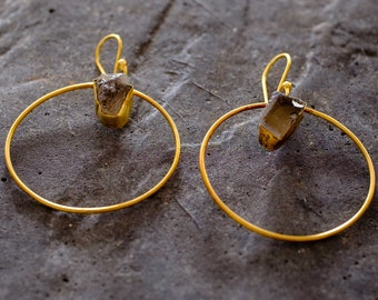 Gold Hoop Earrings with Smokey Quartz