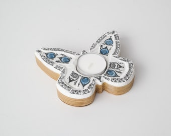 Butterfly Mosaic Tealight Holder - Blue and Black - Handcrafted