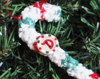 Personalized Crocheted Candycane Christmas Tree Ornament Monogram Initial D Handpainted Wooden Holiday Decoration By Distinctly Daisy