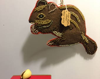 Chipmunk Ornament, Sweet Glittering Beaded Chipmunk, Felt Ornament, Handmade Ornaments, Chipmunks, Woodland Animals, Woodland Ornaments