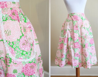 Beach Print Vintage Skirt Tropical Pink Green Preppy Floral 60s Small Medium