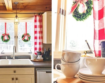 Red kitchen curtains   Etsy