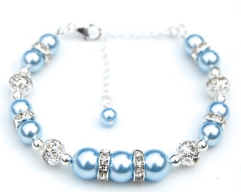Blue Pearl Bracelet, Light Blue Bridesmaid Jewelry, Pale Blue Bracelet, Baby Blue Pearl Rhinestones Bracelet, Bridal Party