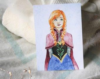 "A6 card illustration ""Anna"""