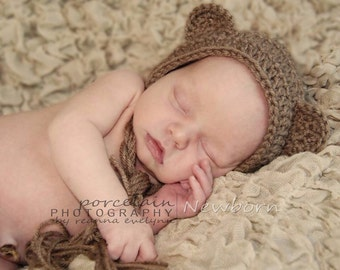 Newborn Teddy Bear Bonnet