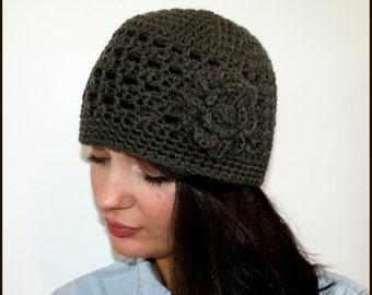 Crochet Beanie Hat with Large Crochet Flower