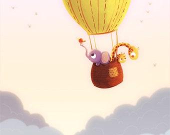 """Hot air balloon nursery, giraffe art, Art for kids room, kids art, nursery art print - """"Up and away"""""""