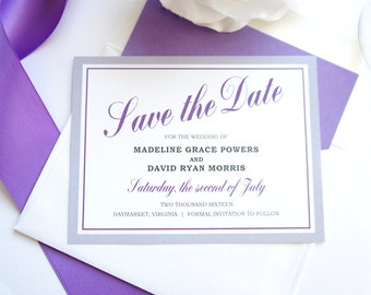 Purple and Gray Save the Date - Purple Save the Date Cards, Modern Save the Date, Silver, Elegant Save the Dates - DEPOSIT