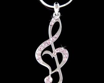 Purple Swarovski Crystal TREBLE G CLEF Love Music Musical Note Heart Pendant Necklace