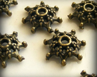 Antique Brass Bead Caps 9mm (18 pcs) Z-N1030-AB
