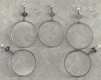 5 Vintage optical lenses with bail hooks.. ready to make your own ..