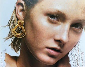 Vintage Tribal Style Earrings / Statement Earrings / Aztec Earrings / 80's Gold Drop Earrings
