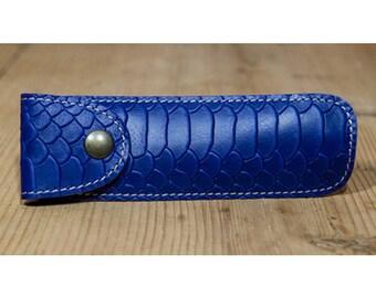Purple snakeskin effect leather pen case
