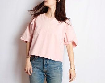 vintage 90s NIRVANA style shirt pink crop top vintage women's shirt boxy top
