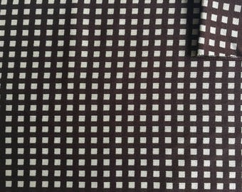 Vintage Fabric 70's Checkered, Polyester Brown, White, Printed, Material, Textiles