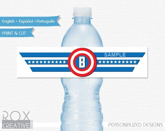 Captain America Water Labels Captain America Printable