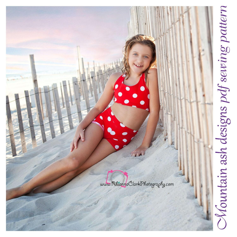 Ella Retro vintage swim suit pdf pattern ella girls sizes 2-14