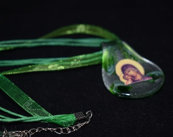 Free Shipping: Green Twine and Ribbon  Glass Theotokos Pendant Necklace