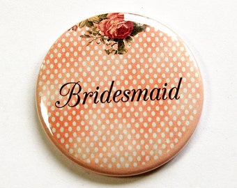 Bridesmaid mirror, Pocket mirror, Purse mirror, polka dot, mirror, personalized, wedding party gift, wedding favor, peach, green (4665)