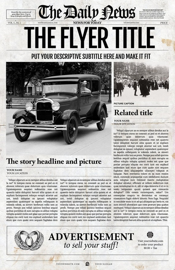 1 Page Newspaper Template Adobe Photoshop 11x17 Inch