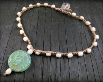 Surfer Girl Crochet Beaded Anklet, Ammonite, Creamy Pearl Anklet, Boho Chic Jewelry
