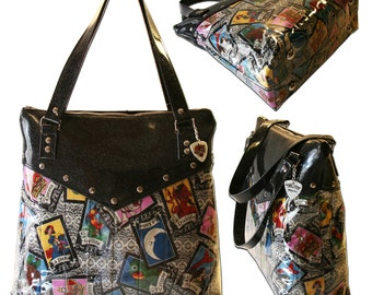 Loteria Purse with Your Choice of Vinyl Trim, Retro, Tote, Rockabilly Bag, Day of the Dead - MADE TO ORDER