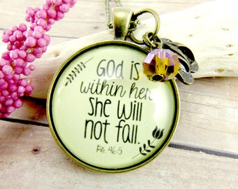 God is Within Her She Will Not Fall Psalm 46 5 Scripture Pendant Bible Verse Necklace for Strong Woman or Mother Daughter Necklace