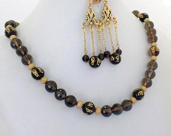 Asian Smoky Topaz Quartz Necklace Earrings Set